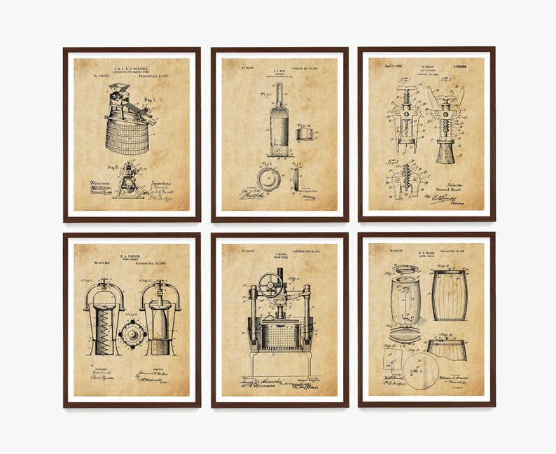 Wine Patent Art  Wine Art  Wine Decor  Wine Wall Art  Antique