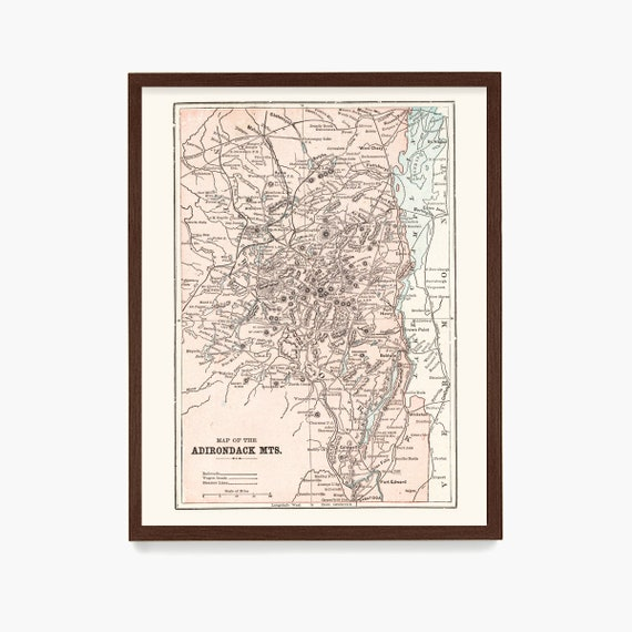 Adirondack Mountains Map, Antique Map, Adirondack Mountains Poster, Adirondacks, Upstate New York, Mountain Art, Map Art, Home Decor