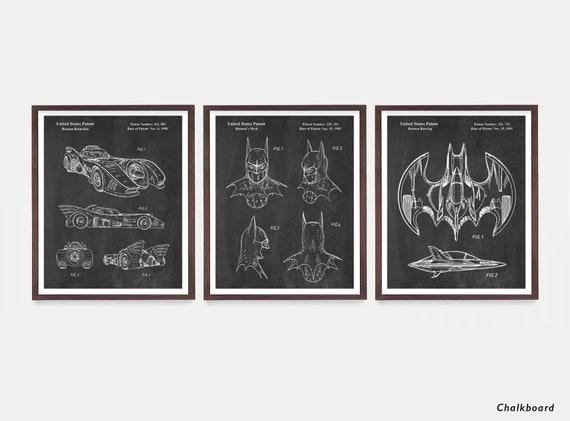 Batman Poster - Batman Wall Art - Batwing - Batmobile Patent  - Batman Mask - Batman Art - Batman Poster - Superhero Poster - Boys Room Art