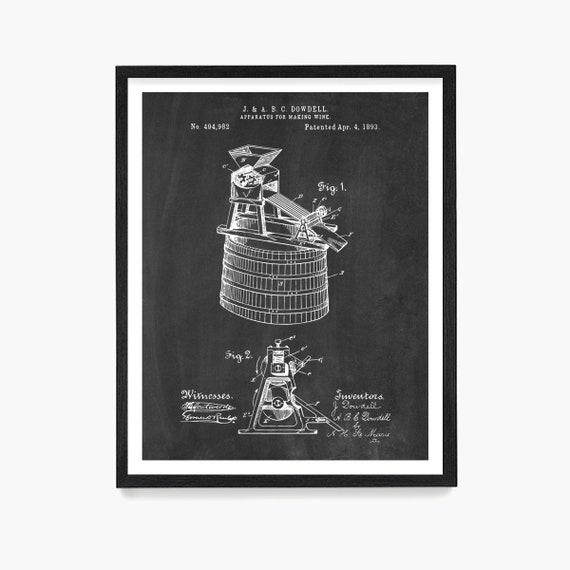 Wine Making Patent, Wine Gift, Wine Poster, Kitchen Wall Art, Vineyard, Wine Wall Art, Kitchen Remodel