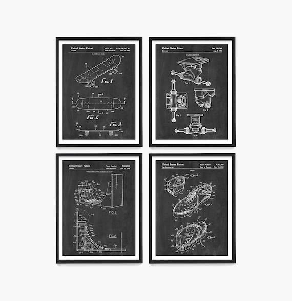 Skateboard Patent Set, Skateboarding, Skateboard, Skateboard Trucks, Skate Art, Skate Poster, Skateboarding Patent Print, Kids Room