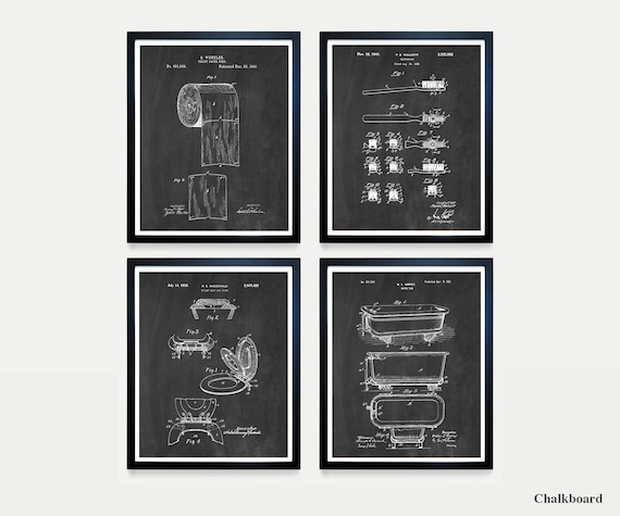 Bathroom Patent Art - Bathroom Poster - Bathroom Wall Art - Bathroom Decor - Toilet Paper Patent - Bathtub Patent - Toothbrush - Bath Art