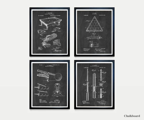 Billiards Poster - Billiards Patent Art - Pool Table - Billiards Cue - Game Room Art - Billiards Wall Art - Game Room Poster - Pool Table