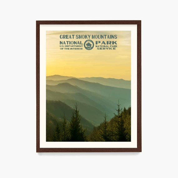 Great Smoky Mountains National Park Poster, Great Smoky Mountains Poster, National Park Art, WPA, WPA Poster, WPA Art, Smoky Mountains Art