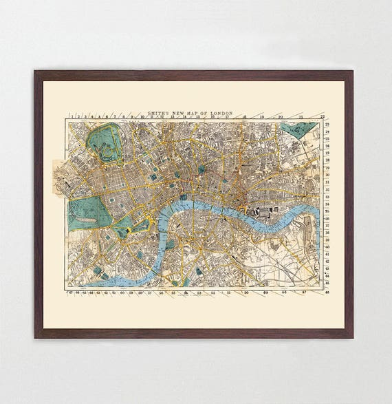 London Map, England Map Art, Map Decor, Vintage Map, Great Britain, United Kingdom, UK Map, London Map, London City Map, London Art