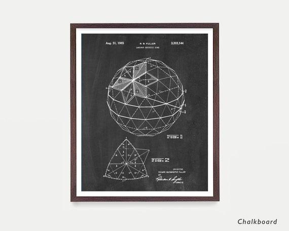 Geodesic Dome Buckminster Fuller Patent Print Ready To Be Framed!