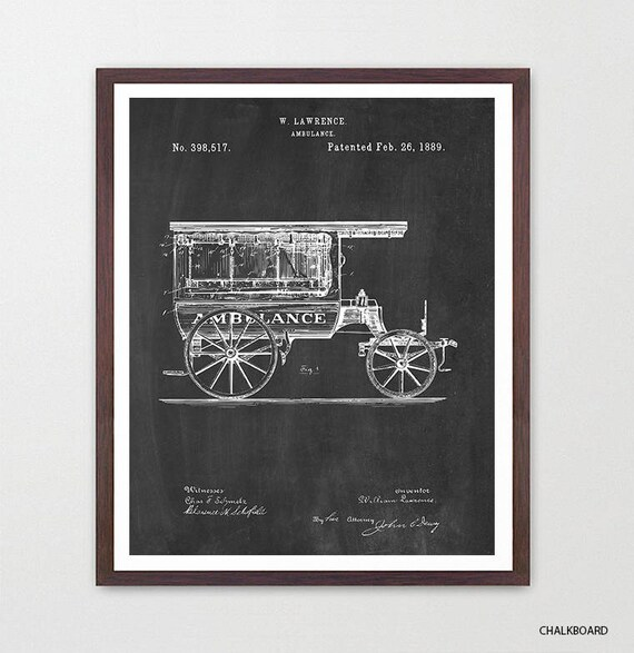 Ambulance Patent Art - Ambulance Poster - Paramedic - Paramedic Poster - Paramedic Patent - Nurse - Doctor - Hospital Art - EMT - Canvas Art