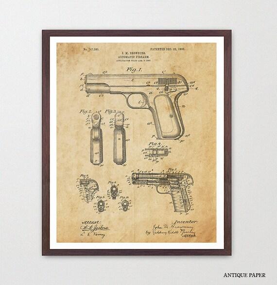 Gun Patent - Firearm Patent - Pistol Patent - Gun Art - Gun Decor - Handgun - Handgun Patent - Gun Wall Art - Gun Decor - Firearm Art
