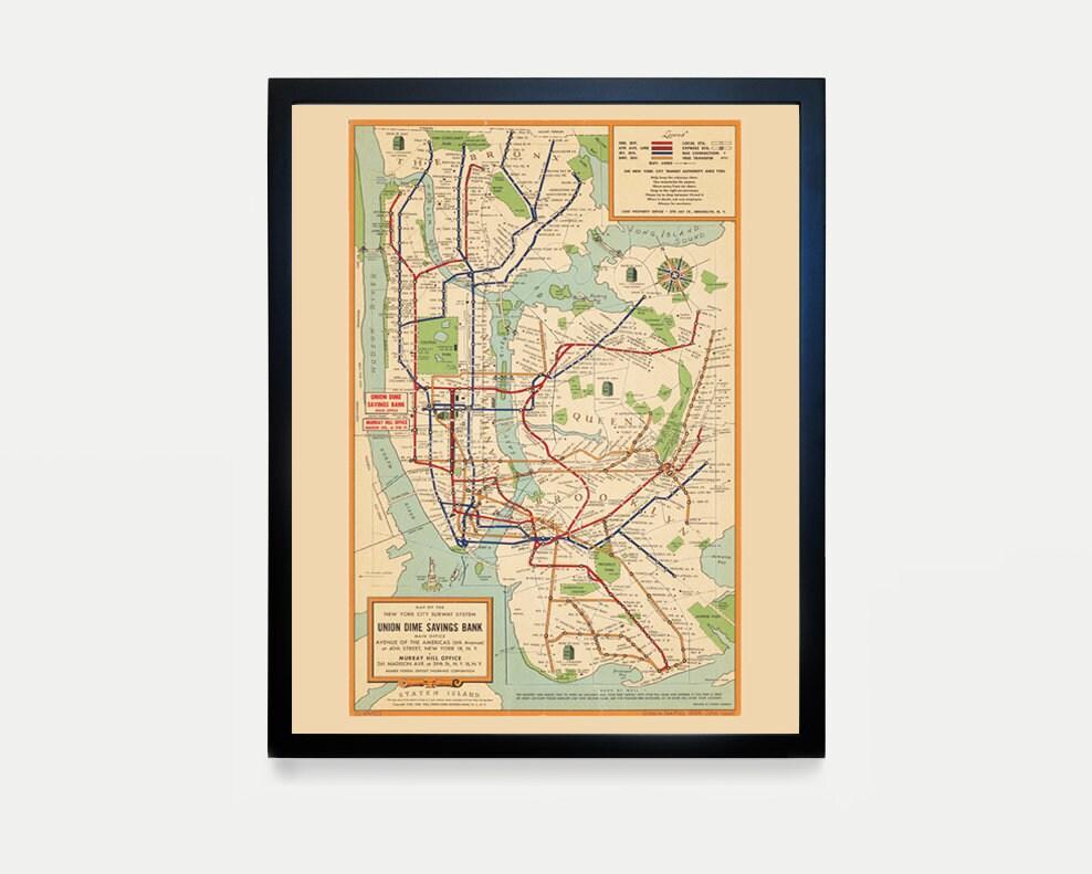 Subway Map Wall Art.New York City Subway Map Subway Map Art