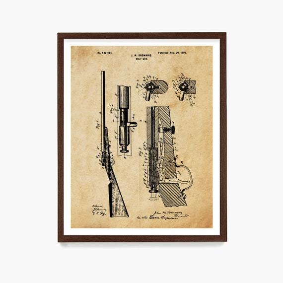 Rifle Patent Art, Gun Patent Print, Bolt Gun, Gun Poster, Gun Wall Art, Gun Gift, Firearm Decor, Shooting Range