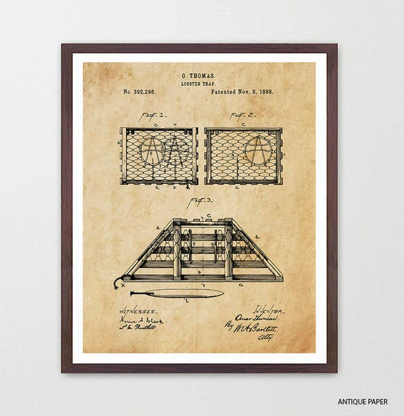 Lobster Trap Patent Art - Lobster Art - Lobster Patent - Lobster Poster - Lobster Decor - Beach Home Decor - Fishing Art - Lobster Print