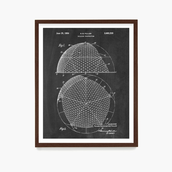 Buckminster Fuller Patent, Geodesic Dome Patent, Architecture Poster, Architecture Wall Art, Buckminster Fuller Art, Geodesic Dome Art, Dome