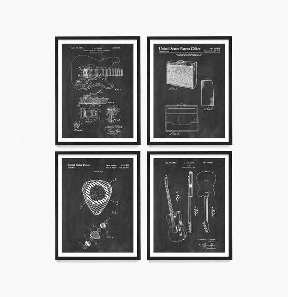 Guitar Patent Wall Art, Fender Guitar, Guitar Pick, Guitar Poster, Fender Patent, Musician Gift, Guitar Gift