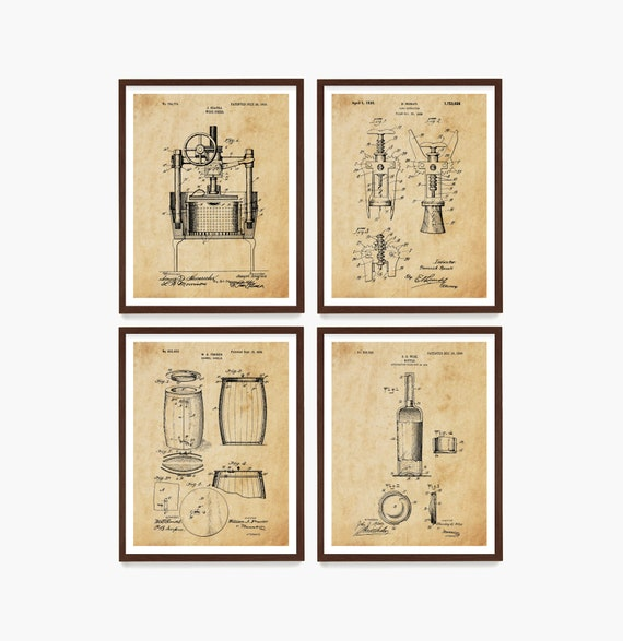 Wine Patent Poster, Wine Wall Art, Wine Decor, Kitchen Renovation, Wine Rack, Cork Screw Patent, Wine Bottle Patent, Wine Gift