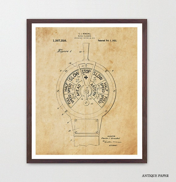 Ship Telegraph Patent Print Wall Art, Boating Poster, Maritime Poster, Nautical Poster, Ocean Liner, Nautical Theme, Beach House Decor