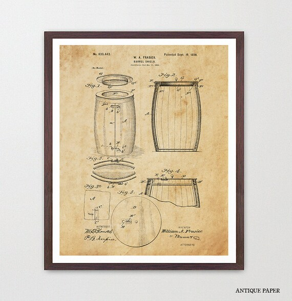Wine Poster - Wine Art - Wine Barrel Patent Print - Wine Decor - Wine Wall Art - White Wine - Wine Lover - Wine Cellar - Vino - Red Wine
