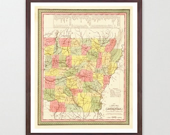 Arkansas Map - AR Map - Map Art - Map Decor - State Map - Arkansas Art - Arkansas Decor - Arkansas Wall Art - Old Map City - Arkansas Poster