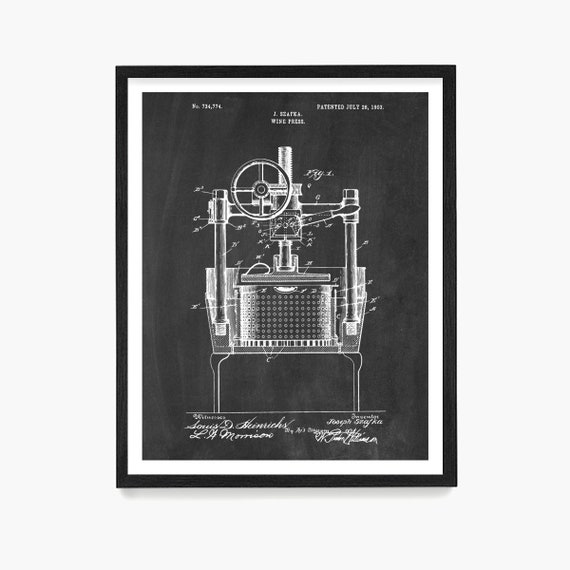 Wine Poster, Wine Press Patent Print, Wine Decor, Wine Wall Art, Kitchen Wall Art, Kitchen Remodel, Wine Gift