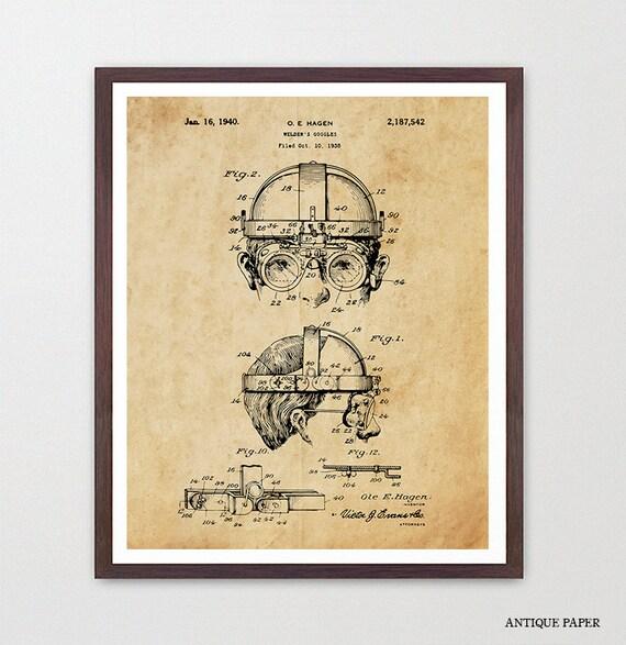 Welding Goggles Patent, Welding Patent, Welding Art, Welding Poster, Steampunk, Steampunk Poster, Contractor, Mechanic, Garage Art