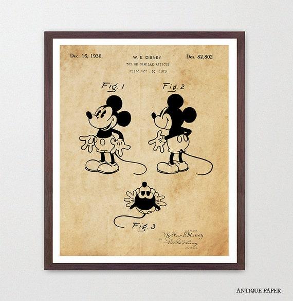 Mickey Mouse Patent - Walt Disney Patent Poster - Disney Art - Mickey Mouse Wall Art - Mickey Mouse Poster - Disney Poster - Kids Room Art