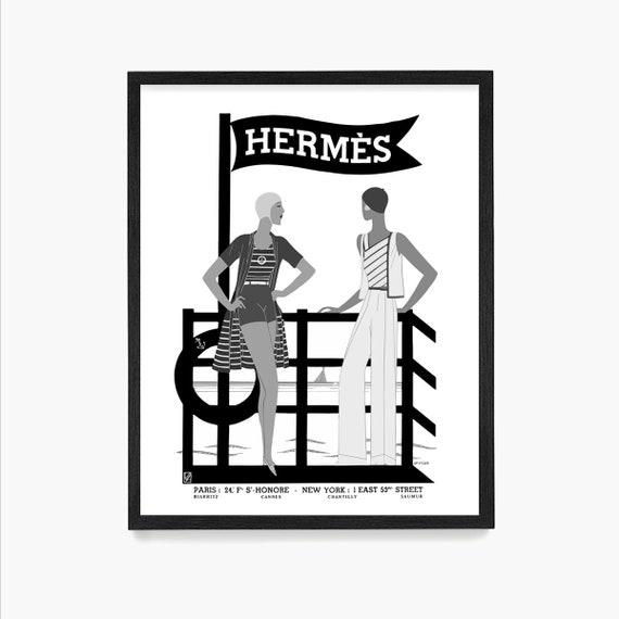Hermes Poster, Vintage Women, Beach Fashion Art, Hermes Paris, Fashion Poster, Vintage Fashion, Fashion Art, Travel Poster, French