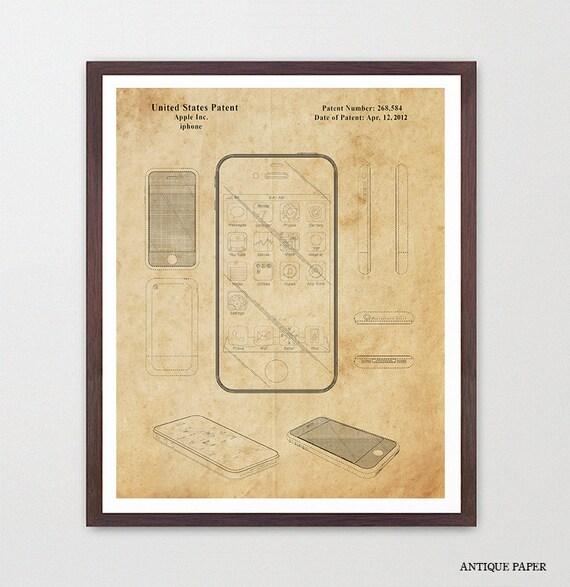 iPhone Patent - Apple iPhone - Apple Patent - Apple Computer Art - Computer Patent - Patent Poster - Apple Poster - Phone Poster - iphone
