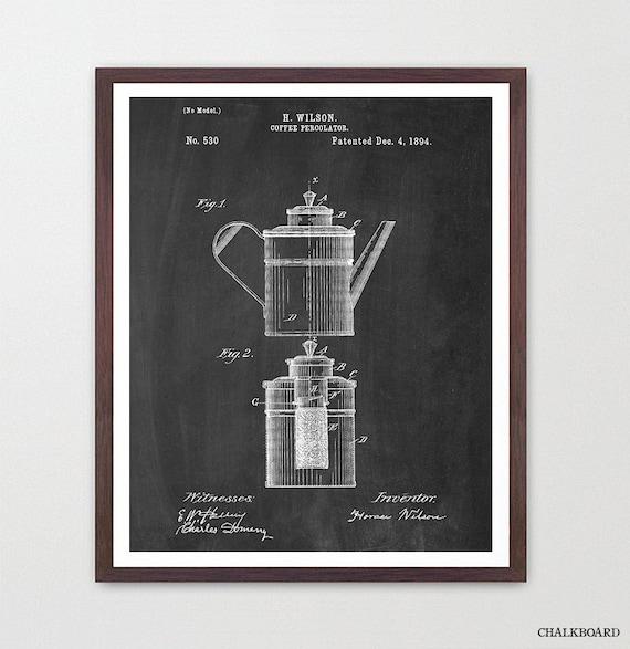 Coffee Patent - Percolator - Kitchen Patent Poster - Kitchen Decor - Coffee Art - Kitchen Gift - Kitchen Wall Art  Coffee Poster  Home Decor