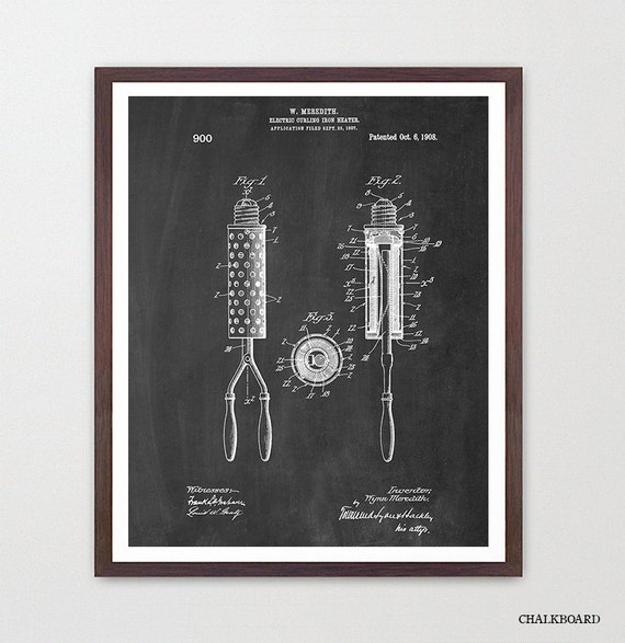 Curling Iron - Curling Iron Poster - Patent Print - Beauty Poster - Fashion Poster - Fashion Inspiration - Bathroom Art - Bathroom Wall