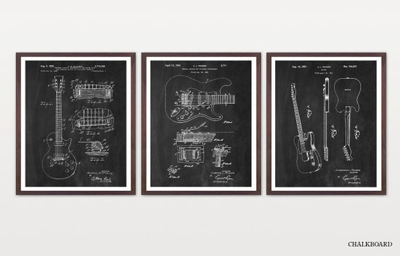 Guitar Patent - Guitar Suite - Electric Guitar Patent - Guitar Art - Les Paul - Fender Patent - Les Paul Patent - Guitar Wall Art - Music