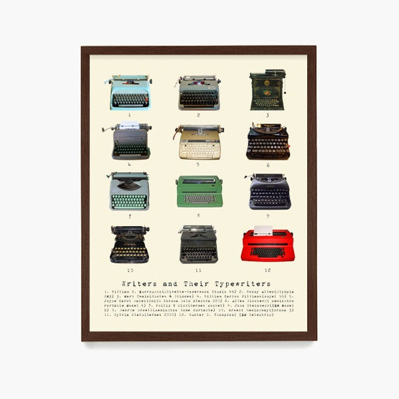 Writers and Their Typewriters Poster, Literary Wall Art, Typewriter Poster, Book Gift, Writer Gift, Creative Writing, Book Art, Reading