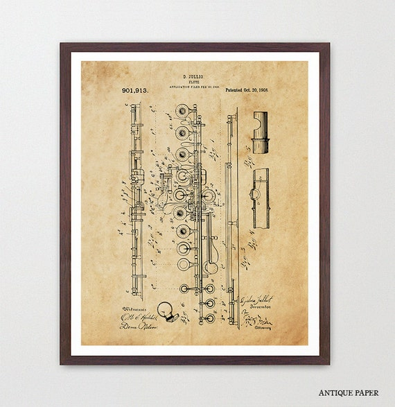 Flute Patent, Flute Poster, Flute Art, Flute Wall Art, Woodwind, Jazz Band, Marching Band, Marching Band Art, Music Poster, Music Gift