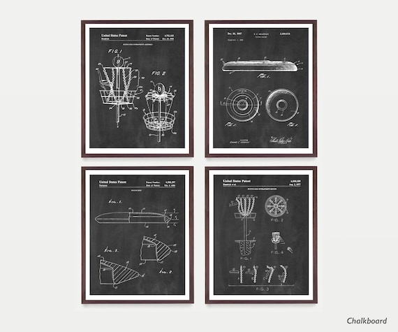 Frisbee Disc Golf Patent Wall Art Prints, Disc Patent, Frisbee Golf, Frisbee Golf Wall Art, Disc Golf Gift