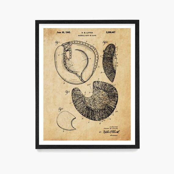Baseball Catchers Mit Patent Art Print, Baseball Team Gift, Kids Room Sports Decor, Baseball Glove Patent Poster, Boys Room Art