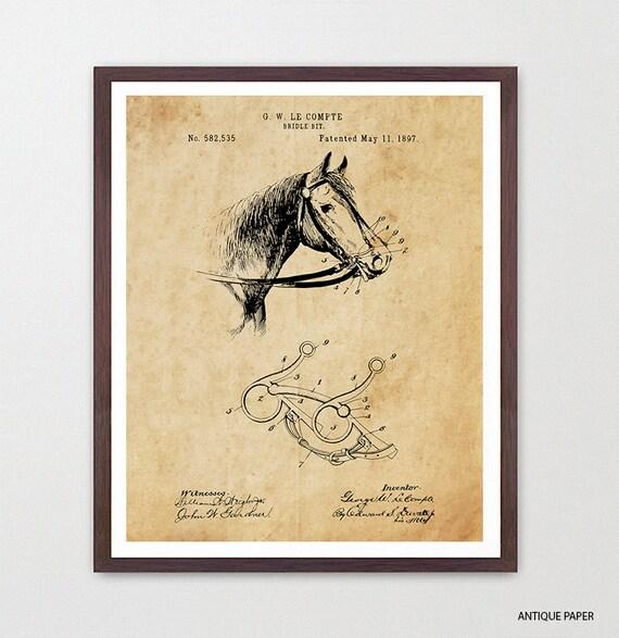 Cowboy Patent - Cowboy Poster - Horse Art - Horse Poster - Horse Patent - Bridal Bit - Rancher - Ranch - Ranch Art - Farm - Saddle - Canvas