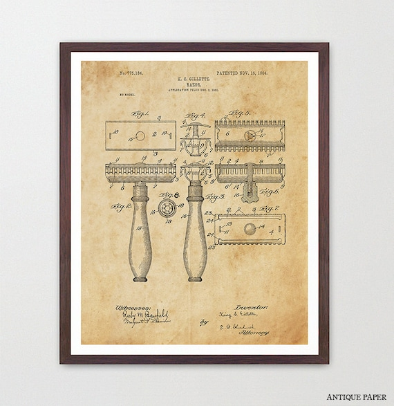 Razor - Razor Patent  - Gillette - Bathroom Art - Bathroom Print - Shaving - Bathroom Decor - Bathroom Patent Art - Man Poster - Men Poster