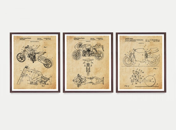 Ducati Motorcycle Patent Art Set of 3 Custom