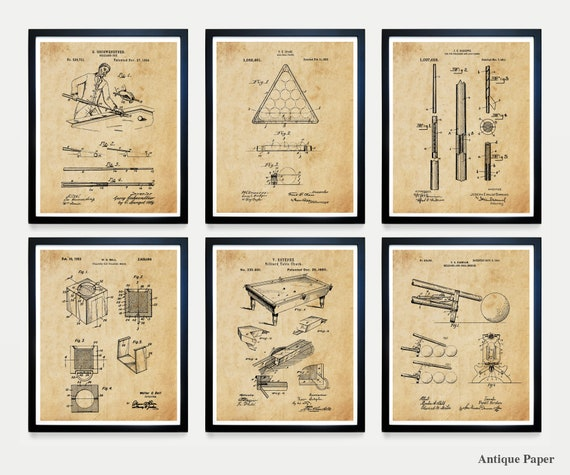 Billiards Patent Art - Billiards Poster - Billiards Art - Billiards Room - Pool Cue - Pool Table - Billiards Table Patent Pool Hall Wall Art