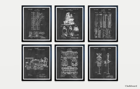 Train Patent Set - Railroad Patent - Train Art - Train Wall Art - Railroad Art - Caboose - Locomotive - Train Tracks - Rail Art - Train Gift