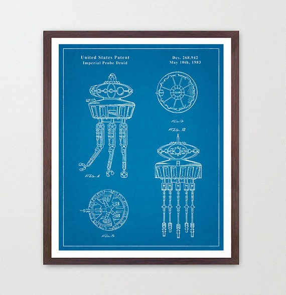 Star Wars - Imperial Probe Drone - Star Wars Patent - Star Wars Poster - Star Wars Art - Ewok Patent - Star Wars Wall Art - Star Wars Gift