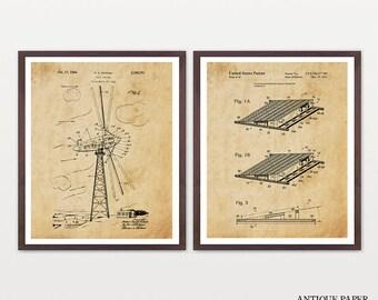 Renewable Energy Patent Collection - Solar Power - Solar Patent Art - Wind Turbine - Wind Turbine Patent - Wind Turbine Art - Energy Poster