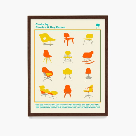 Eames Chair Typology Poster, Eames Art, Mid Century Wall Art, Mid Century Poster,Charles Eames, Ray Eames, Chair Design, Design Art