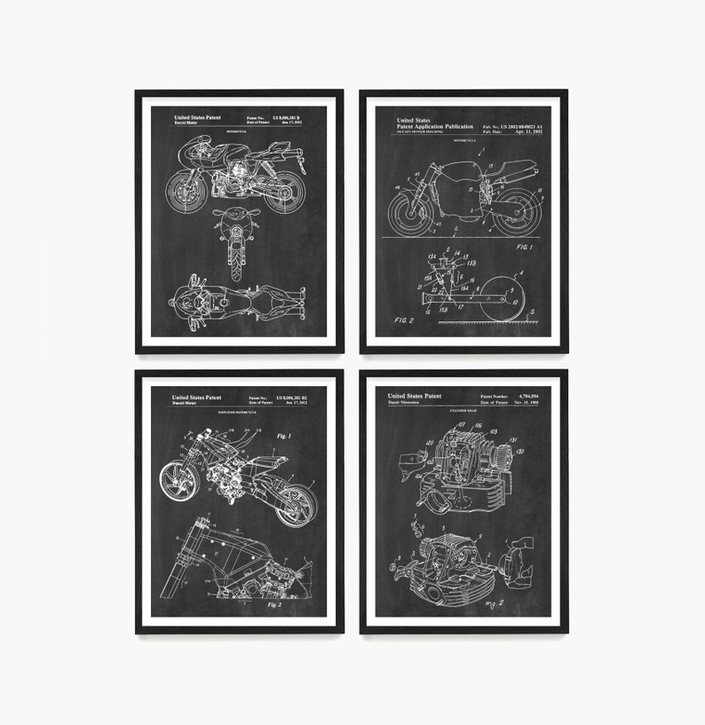 Motorcycle Patent Art Motorcycle Poster Motorcycle Wall Art Chalkboard