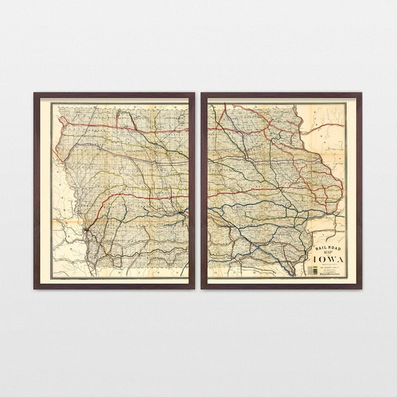 Iowa Map - Antique Map - Archival Reproduction - Iowa - Iowa Poster - Iowa Art - Iowa Wall Art - Iowa Decor - State Map - State Art - Rail