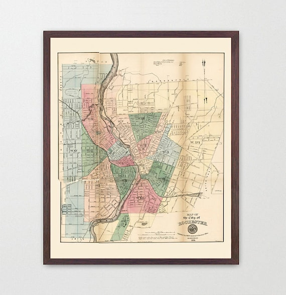Rochester Map - New York Map - Map Art - Map Decor - City Map - Rochester Art - New York State Decor - Upstate New York - RIT -
