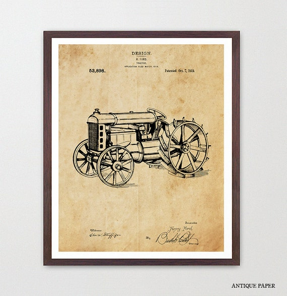 Tractor - Tractor Art - Tractor Patent - Tractor Poster - Farm - Farming Art - Old Tractor - Henry Ford - Ford Patent Art - Ford Motors