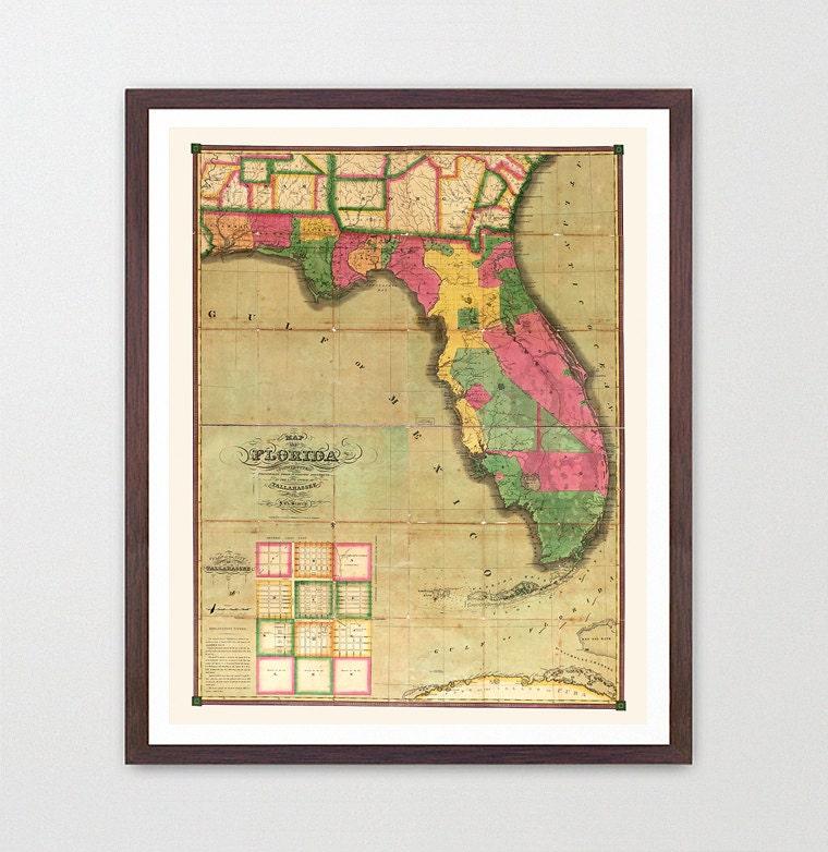 Florida Map - Map Art - Map Decor - State Map - Florida Art ...