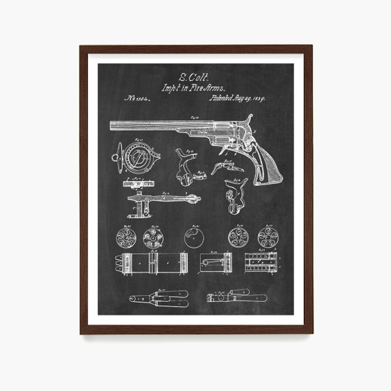Colt Walker Revolver Patent Print, Gun Wall Art, Gun Poster, Firearm Decor, Gun Gift, Colt 45 Patent, Firearm Gift