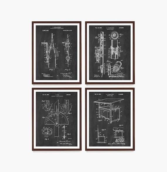 Architecture  Patent, Architect Art, Architect Poster, Architect Decor, Architecture Student, Drafting Tools, Compass, Math Art