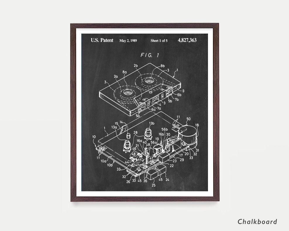 Cassette - Cassette Patent - Tape - 80s music - 80's art - Music