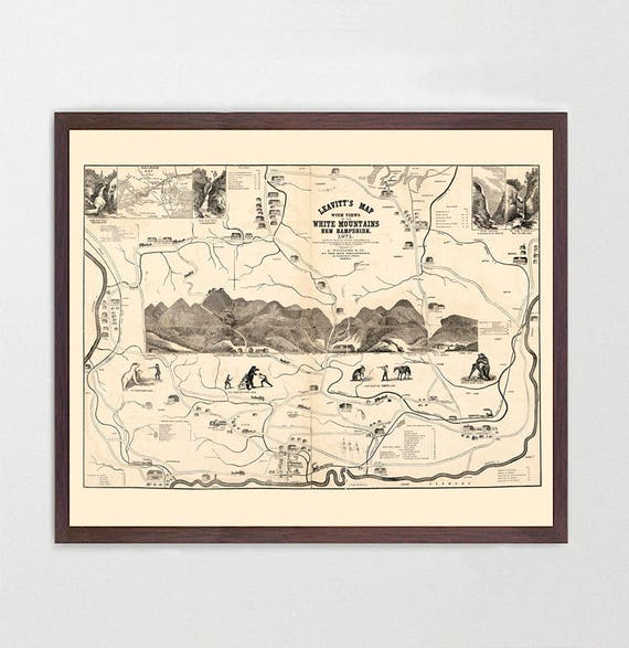 White Mountains Map - Antique Map - Archival Reproduction - White Mountains - New Hampshire Poster - White Mountains Poster - Appalachian